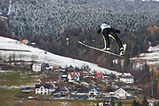 Poland, Wisla Malinka - 2017 November 19: Kamil Stoch from Poland soars through the air while Men&rsquo;s Individual HS134 competition during FIS Ski Jumping World Cup Wisla 2017/2018 - Day 3 at jumping hill of Adam Malysz on November 19, 2017 in Wisla Malinka, Poland.<br /> <br /> Mandatory credit:<br /> Photo by &copy; Adam Nurkiewicz<br /> <br /> Adam Nurkiewicz declares that he has no rights to the image of people at the photographs of his authorship.<br /> <br /> Picture also available in RAW (NEF) or TIFF format on special request.<br /> <br /> Any editorial, commercial or promotional use requires written permission from the author of image.