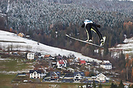 Poland, Wisla Malinka - 2017 November 19: Kamil Stoch from Poland soars through the air while Men's Individual HS134 competition during FIS Ski Jumping World Cup Wisla 2017/2018 - Day 3 at jumping hill of Adam Malysz on November 19, 2017 in Wisla Malinka, Poland.<br /> <br /> Mandatory credit:<br /> Photo by © Adam Nurkiewicz<br /> <br /> Adam Nurkiewicz declares that he has no rights to the image of people at the photographs of his authorship.<br /> <br /> Picture also available in RAW (NEF) or TIFF format on special request.<br /> <br /> Any editorial, commercial or promotional use requires written permission from the author of image.