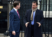 © Licensed to London News Pictures. 26/03/2013. Westminster, UK (left) Nick Clegg,  Liberal Democrat MP, Deputy Prime Minister and Jeremy Hunt, Conservative MP, Secretary of State for Health. Ministers inDowning Street, London, for Cabinet today, 26th March 2013. Photo credit : Stephen Simpson/LNP