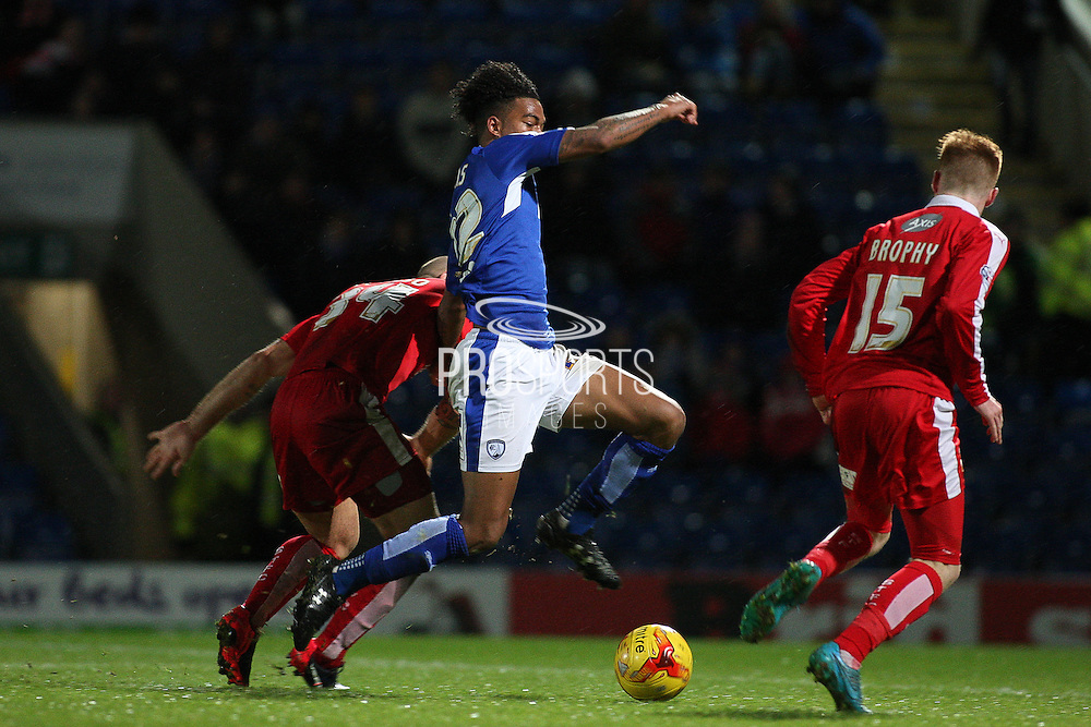 Chesterfield FC forward Rai Simons stretches for the ball during the Sky Bet League 1 match between Chesterfield and Swindon Town at the Proact stadium, Chesterfield, England on 28 November 2015. Photo by Aaron Lupton.