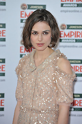 © under license to London News Pictures. Keira Knightley poses for photographs at the arrivals for this years Empire Film Awards at The Grosvenor House Hotel in London .Photo credit should read Theodore Wood/LNP