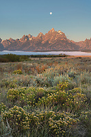 Full moon over the Teton Range at Cunningham Ranch, Grand Teton National Park Wyoming