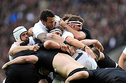 Forwards from both sides wrestle at a driving maul - Photo mandatory by-line: Patrick Khachfe/JMP - Mobile: 07966 386802 08/11/2014 - SPORT - RUGBY UNION - London - Twickenham Stadium - England v New Zealand - 2014 QBE Internationals