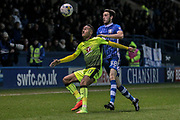 Jordan Obita (Reading) holds off Will Buckley (on loan from Sunderland) (Sheffield Wednesday) as he tries to clear the ball from danger during the EFL Sky Bet Championship match between Sheffield Wednesday and Reading at Hillsborough, Sheffield, England on 17 March 2017. Photo by Mark P Doherty.