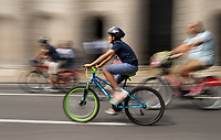 Riders passing through The City of London. Prudential RideLondon FreeCycle. Saturday 28th July 2018<br /> <br /> Photo: Thomas Lovelock for Prudential RideLondon<br /> <br /> Prudential RideLondon is the world's greatest festival of cycling, involving 100,000+ cyclists - from Olympic champions to a free family fun ride - riding in events over closed roads in London and Surrey over the weekend of 28th and 29th July 2018<br /> <br /> See www.PrudentialRideLondon.co.uk for more.<br /> <br /> For further information: media@londonmarathonevents.co.uk