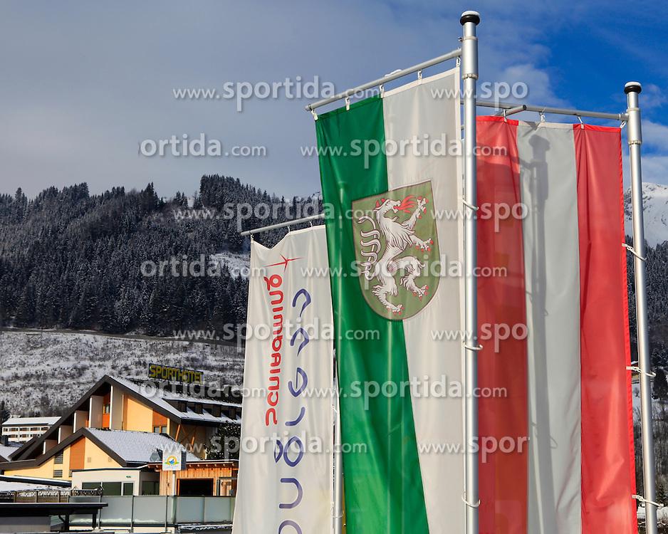 19.01.2013, Schladming, AUT, FIS Weltmeisterschaften Ski Alpin, Schladming 2013, Vorberichte, im Bild Flaggen (Steiermark, Österreich, Congress) und das Sporthotel Royer am 19.01.2013 // flags (Styria, Austria, Congress Schladming) and the Sporthotel Royer on 2013/01/19, preview to the FIS Alpine World Ski Championships 2013 at Schladming, Austria on 2013/01/19. EXPA Pictures © 2013, PhotoCredit: EXPA/ Martin Huber
