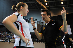 10.10.2010, Bremen Arena, Bremen, GER, Vorbereitung Volleyball WM Frauen 2010, Laenderspiel Deutschland ( GER ) vs. Tuerkei ( TUR ), im Bild Denise Hanke (#3 GER) - Giovanni Guidetti (Headcoach GER). EXPA Pictures © 2010, PhotoCredit: EXPA/ nph/   Conny Kurth+++++ ATTENTION - OUT OF GER +++++