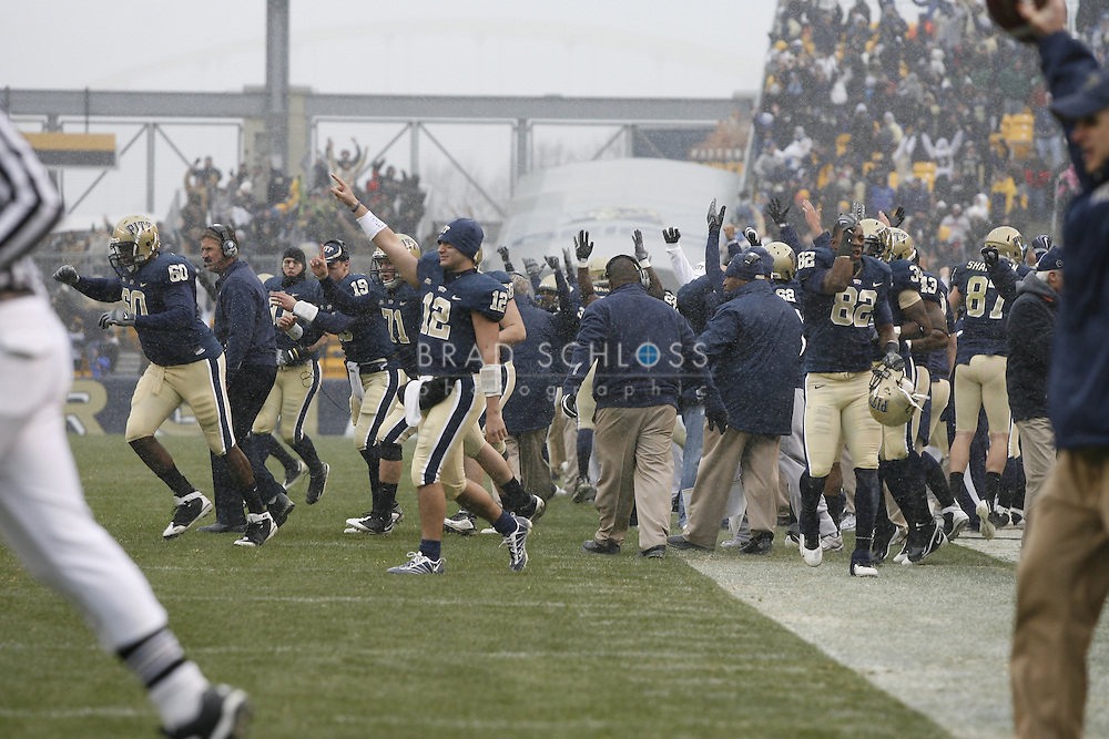 05 DEC 2009: Pittsburgh sidelines erupts after a touchdown during the Panthers devastating 45-44 loss to the Cincinnati Bearcats today in the Big East Championship at Heinz Field in Pittsburgh, PA.  The win completes a 12-0 undefeated season for Cincinnati and their second consecutive Big East Championship..