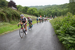 Leah Kirchmann (CAN) of Team Sunweb leads the peloton up on one of the many climbs of Stage 4 of the OVO Energy Women's Tour - a 123 km road race, starting and finishing in Chesterfield on June 10, 2017, in Derbyshire, United Kingdom. (Photo by Balint Hamvas/Velofocus.com)