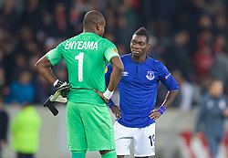 LILLE, FRANCE - Thursday, October 23, 2014: Everton's Christian Atsu and Lille OSC's goalkeeper Vincent Enyeama after the goalless draw during the UEFA Europa League Group H match at Stade Pierre-Mauroy. (Pic by David Rawcliffe/Propaganda)