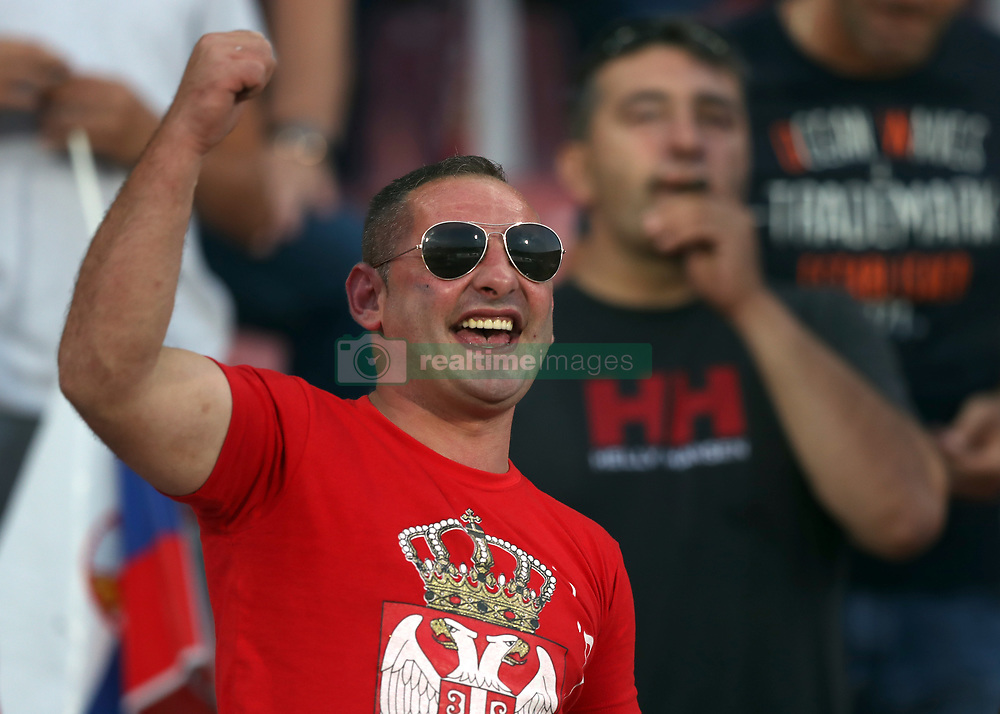 Serbia fans in the stands during the 2018 FIFA World Cup Qualifying, Group D match at the Rajko Mitic Stadium, Belgrade.