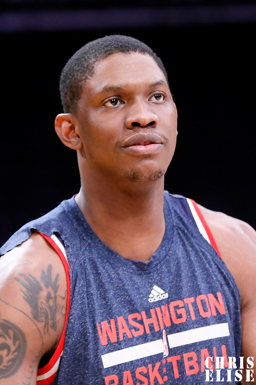 27 January 2015:  Washington Wizards center Kevin Seraphin (13) warms up prior to the Washington Wizards 98-92 victory over the Los Angeles Lakers, at the Staples Center, Los Angeles, California, USA.