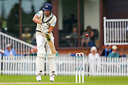Wicket! Dawid Malan of Middlesex tries to defend and is caught behind by Tom Cullen of Glamorgan during the Specsavers County Champ Div 2 match between Middlesex County Cricket Club and Glamorgan County Cricket Club at Radlett Cricket Ground, Radlett, Hertfordshire, United Kingdom on 19 June 2019.