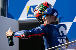 October 28, 2018 - Phillip Island, VIC, U.S. - PHILLIP ISLAND, VIC - OCTOBER 28: Movistar Yamaha MotoGP rider Maverick Vinales (25) on the podium as the winner at The 2018 Australian MotoGP on October 28, 2018, at The Phillip Island Circuit in Victoria, Australia. (Photo by Speed Media/Icon Sportswire) (Credit Image: © Steven Markham/Icon SMI via ZUMA Press)