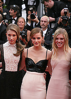 Taissa Fariga, Emma Watson, Claire Julien,.at the gala screening of Jeune & Jolie at the 2013 Cannes Film Festival 16th May 2013