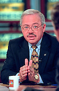 Rep. Bob Barr (R-GA) discusses the ongoing scandal involving President Clinton during NBC's Meet the Press September 20, 1998 in Washington, DC.