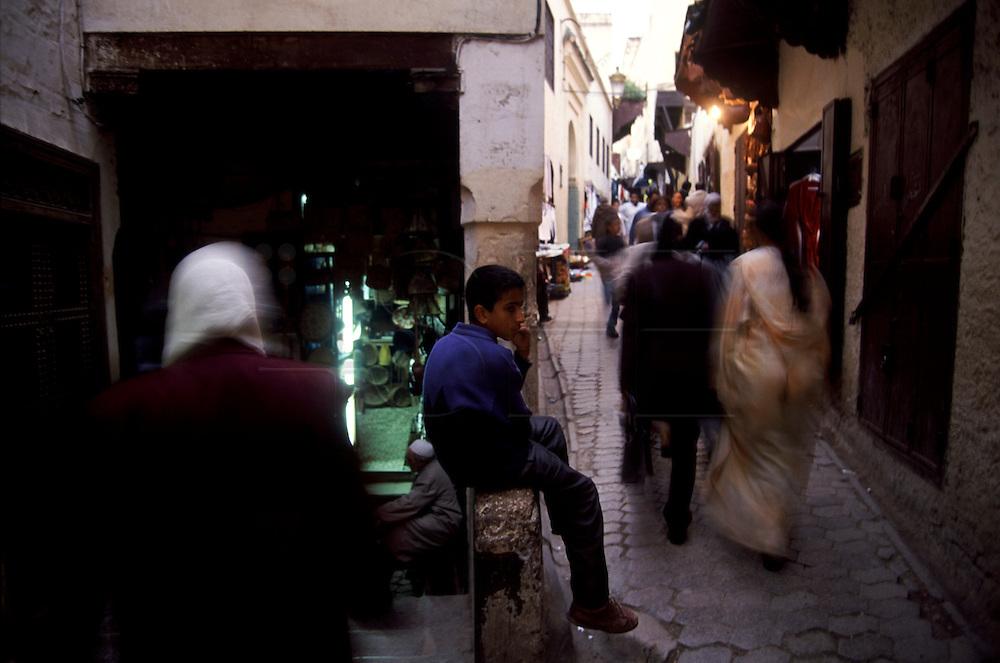 Talaa Kbira street is the main circulation path inside Fez Medina (Fes el-Bali)