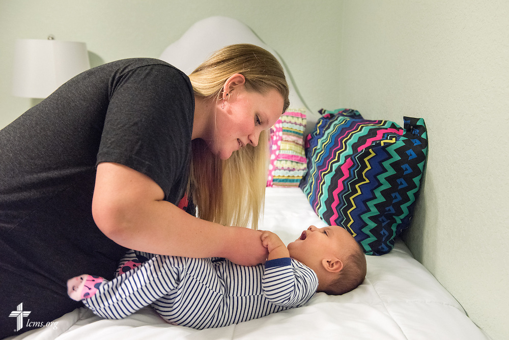 Caroline changes her baby Maxwell at Redeeming Life Maternity Home on Thursday, Feb. 12, 2015, in Sanford, Fla. The Christ-centered home of Redeeming Life Outreach Ministries is a safe haven for single women in crisis pregnancy. LCMS Communications/Erik M. Lunsford
