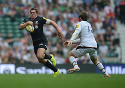 Saracens Full Back Alex Goode attacks down the win.- Photo mandatory by-line: Alex James/JMP - 07966 386802 - 06/09/2014 - SPORT - RUGBY UNION - London, England - Twickenham Stadium - Saracens v Wasps - Aviva Premiership London Double Header.