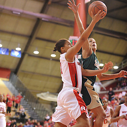Jan 31, 2009; Piscataway, NJ, USA; Rutgers guard Nikki Speed (11) has a shot blocked by South Florida guard Jazmine Sepulveda (4) during the second half of  South Florida's 59-56 victory over Rutgers in NCAA women's college basketball at the Louis Brown Athletic Center