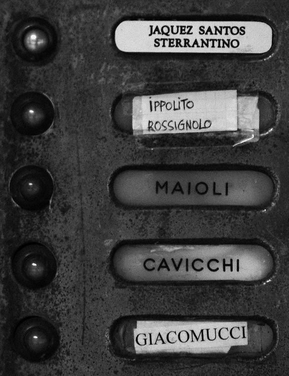 "Black and white photograph of doorbell with five names in Bologna Italy by Karl R Lilliendahl photographer. Photo is available as open edition and limited edition giclee print in four sizes. Click on ""Get Print"" to see more details."