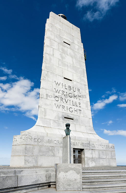 Sculpture of historic first flight, Wright Brothers National Memorial, Kill Devil Hills, Outer Banks, North Carolina, USA.