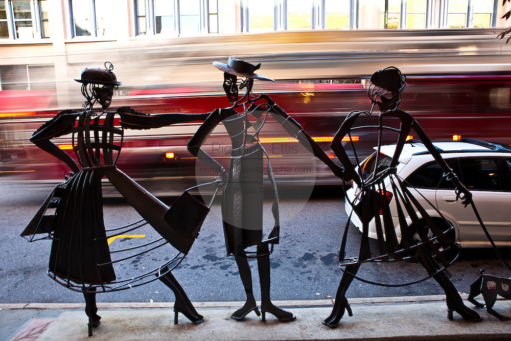 Shopping Daze statue along Haywood St in Asheville, NC part of the Urban Trail city art project