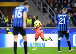 MILAN, Nov. 7, 2019  Manchester City's Raheem Sterling (C) celebrates during the UEFA Champions League Group C football match between Atalanta and Manchester City in Milan, Italy, Nov. 6, 2019. (Photo by Alberto LingriaXinhua) (Credit Image: © Xinhua via ZUMA Wire)