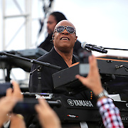Musician Stevie Wonder performs prior to President Barack Obama campaigning for Democratic nominee Hillary Clinton at Osceola Park in Kissimmee Florida USA  06 Nov 2016