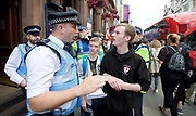 Police explain section 12 and 14 <br /> <br /> English Defence League <br /> protest at Charing Cross with a counter Unite Against Fascism protest on Victoria Embankment <br /> 24th June 2017 <br /> <br /> General View and Metropolitan Police containing the march. <br /> <br /> Photograph by Elliott Franks <br /> Image licensed to Elliott Franks Photography Services