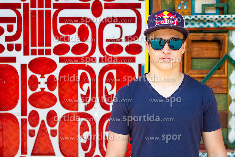 Slovenian freestyle snowboarder Tim-Kevin Ravnjak in Metelkova mesto, Ljubljana on June 1st, 2015. (Photo by: Peter Kastelic / Sportida)