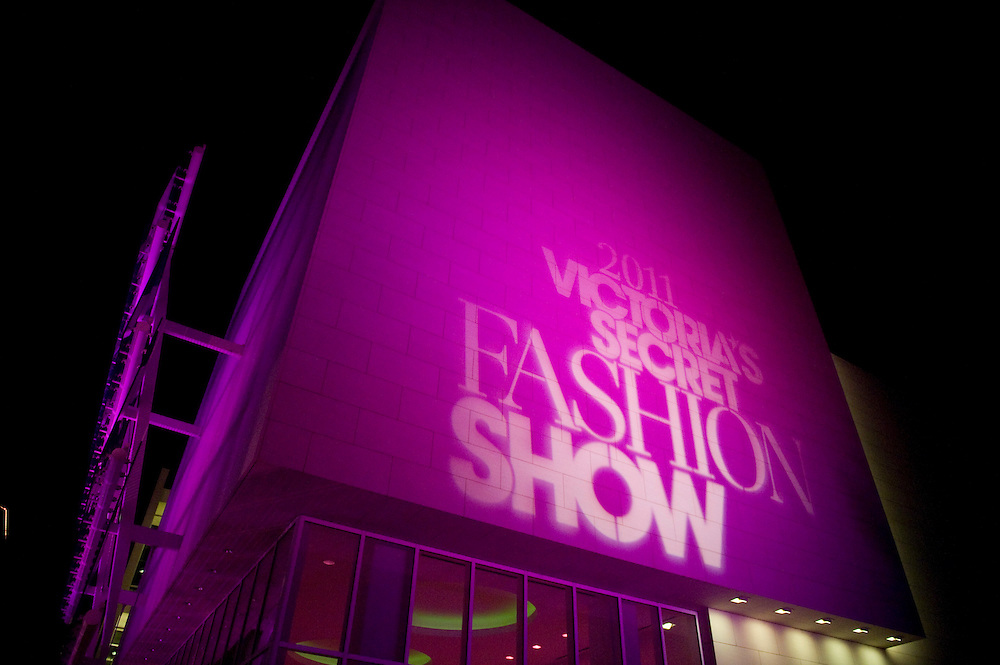 The Samueli Theater at the Segerstrom Center for the Arts is lit up to promote the 2011 Victoria's Secret Fashion Show viewing party Tuesday night.