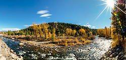 """""""Truckee River in Autumn 24"""" - Panoramic photograph of fall colors along the Truckee River in Downtown Truckee, California."""