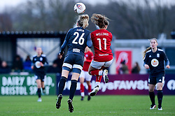 Charlie Wellings of Bristol City contends for the aerial ball with Lily Simkin of Birmingham City Women - Mandatory by-line: Ryan Hiscott/JMP - 08/12/2019 - FOOTBALL - Stoke Gifford Stadium - Bristol, England - Bristol City Women v Birmingham City Women - Barclays FA Women's Super League