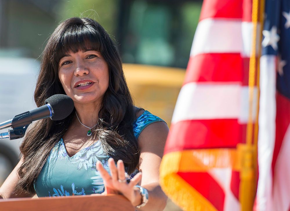 Houston ISD Trustee Diana Davila comments during a groundbreaking ceremony at Wharton PK-8 Dual Language Academy, May 5, 2017.