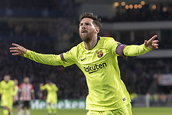 November 28, 2018 - Eindhoven, Netherlands - Lionel Messi of Barcelona celebrates scoring his goal during the UEFA Champions League Group B match between PSV Eindhoven and FC Barcelona at Philips Stadium in Eindhoven, Netherlands on November 28, 2018  (Credit Image: © Andrew Surma/NurPhoto via ZUMA Press)