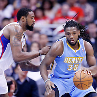 15 April 2014: Denver Nuggets forward Kenneth Faried (35) posts up Los Angeles Clippers center DeAndre Jordan (6) during the Los Angeles Clippers 117-105 victory over the Denver Nuggets at the Staples Center, Los Angeles, California, USA.