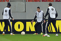 Chelsea's defender John Terry vie for the ball during a training session on March 6, 2013 at the National Arena Stadium one day before the UEFA Europa League football match against Steaua Bucharest.
