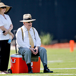 Jul 26, 2013; Metairie, LA, USA; New Orleans Saints owner Tom Benson and wife Gayle Benson watch during the first day of training camp at the team facility. Mandatory Credit: Derick E. Hingle-USA TODAY Sports
