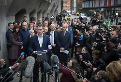 © Licensed to London News Pictures. 23/11/2016. London, UK. Family of murdered MP Jo Cox speak to reporters outside The Old Bailey after Thomas Mair was found guilty of her murder. Jo Cox's husband Brendan Cox (C) talks, as her parents Gordon and Jean Leadbeater,  Jo's sister Kim look on. Defendant Thomas Mair chose not to give any evidence in his defence.  Mair shot and stabbed the 41-year-old Member of Parliament outside her constituency surgery in Birstall, near Leeds, Yorkshire on June 16 this year and has been given a whole life sentence. Photo credit: Peter Macdiarmid/LNP