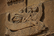 Northeastern Anatolia. Van Lake. Akdamar Island  is the home to a tenth century Armenian church, known as the Cathedral Church of the Holy Cross (915-921). Bas-reliefs with Jonah and the Whale. Armenian King Gagik I Artsruni (908-944) chose Agt'hamar (the Armenian name of the island) as one of his residences. The only surviving structure is the Palatine Cathedral of the Holy Cross built by the architect-monk Manuel.<br /> The unique importance of the Cathedral Church of the Holy Cross comes from the extensive array of bas-relief carving of mostly biblical scenes that adorn its external walls. The meanings of these reliefs have been the subject of much and varied interpretation.