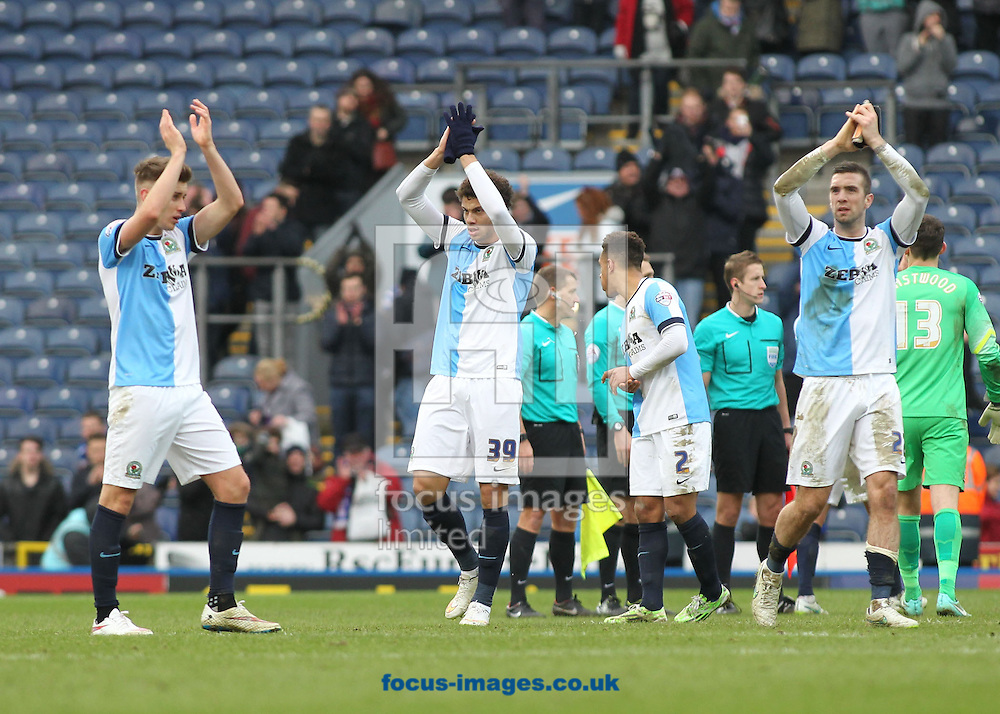 Rudy Gestede, Tom Cairney and Adam Henley of Blackburn Rovers celebrate after Blackburn's 3-1 win against Swansea in the FA Cup match at Ewood Park, Blackburn.<br /> Picture by Michael Sedgwick/Focus Images Ltd +44 7900 363072<br /> 24/01/2015