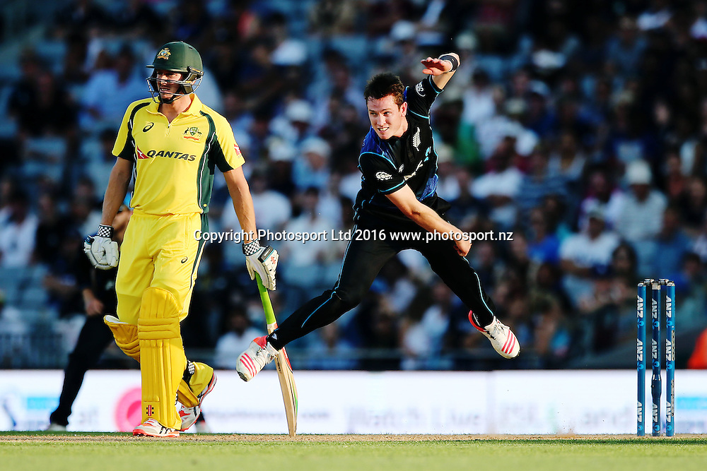 Adam Milne of New Zealand bowls. ANZ International Series, 1st Chappell-Hadlee Trophy ODI between New Zealand Back Caps and Australia at Eden Park in Auckland, New Zealand. 3 February 2016. Photo: Anthony Au-Yeung / www.photosport.nz