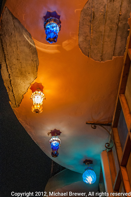 Ceiling of a restaurant with colorful lamps in Giza, Egypt