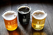 From left, sample sizes of the Steel Share IPA, the Scythe Imperial Porter, and the Sonoma Coast Pilsner at Plow in Santa Rosa, Calif., on Wednesday, October 21, 2015.