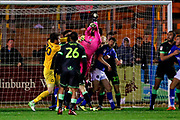 Forest Green Rovers goalkeeper James Montgomery (13) wins the battle in the box at the end of the game during the EFL Sky Bet League 2 match between Carlisle United and Forest Green Rovers at Brunton Park, Carlisle, England on 24 November 2018.