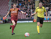 Stephen Darby (C) (Bradford) gets a cross in for Bradford during the The FA Cup match between Bradford City and Chesham FC at the Coral Windows Stadium, Bradford, England on 6 December 2015. Photo by Mark P Doherty.