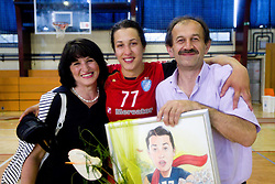 Andrea Lekic with her parents during celebration of RK Krim Mercator after the handball game between RK Krim Mercator and ZRK Krka of Liga z'dezele of Slovenian National Championship 2010/2011, on May 14, 2011 in Arena Krim Galjevica, Ljubljana, Slovenia. Krim became Slovenian National Champion 2010//2011. (Photo By Vid Ponikvar / Sportida.com)