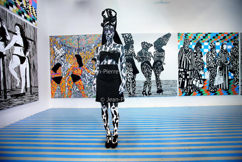 Nederland, Amsterdam , 24 november 2011..Rijksacademie Open eindexamen tentoonstelling, presentatie..Op de foto werk van de Marokkaanse kunstenaar Hamid El Kanbouhi.Foto:Jean-Pierre Jans