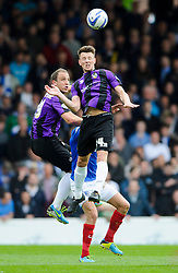 Lee Brown (ENG) of Bristol Rovers heads the ball - Photo mandatory by-line: Rogan Thomson/JMP - 07966 386802 - 19/04/2014 - SPORT - FOOTBALL - Fratton Park, Portsmouth - Portsmouth FC v Bristol Rovers - Sky Bet Football League 2.